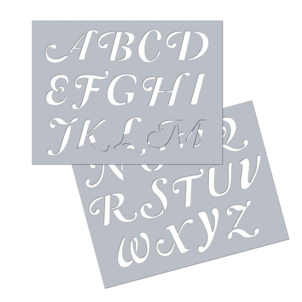 Plantilla letras Swash mayúsculas A4